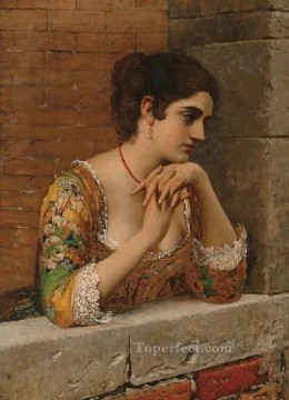 lady painting - von venetian beauty on balcony lady Eugene de Blaas