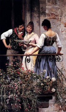 on canvas - De On The Balcony lady Eugene de Blaas