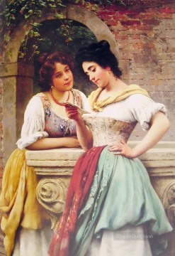 red Oil Painting - Shared Correspondance lady Eugene de Blaas