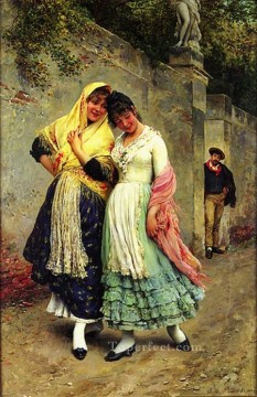 Eugene de Blaas Painting - The Flirtation lady Eugene de Blaas