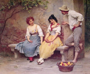Eugene de Blaas Painting - de The Flirtation lady Eugene de Blaas