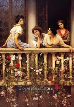lady painting - Balcony lady Eugene de Blaas