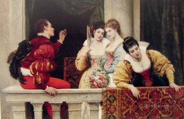 Blaas Oil Painting - On the balcony lady Eugene de Blaas