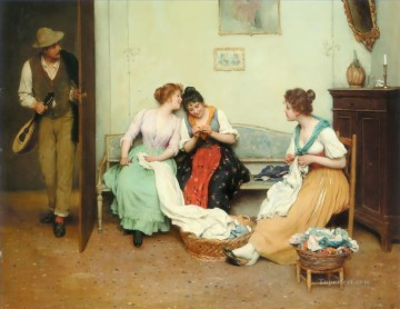 The Friendly Gossips lady Eugene de Blaas Decor Art