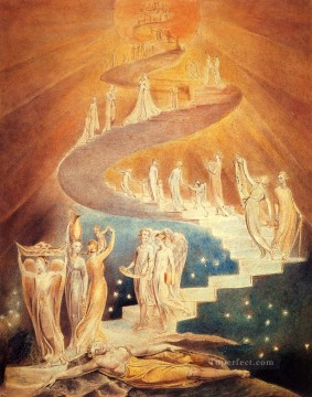William Blake Painting - Jacobs Ladder Romanticism Romantic Age William Blake