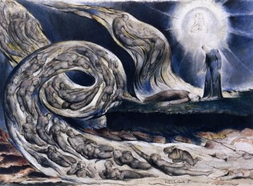 romantic romantism Painting - The Lovers Whirlwind Francesca Da Rimini And Paolo Malatesta Romanticism Romantic Age William Blake