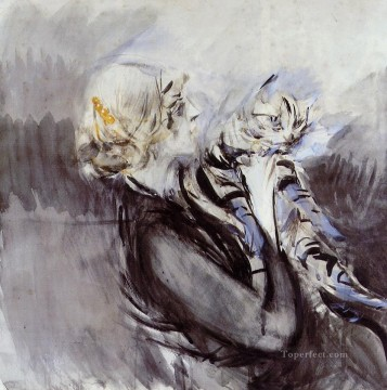 cat Art Painting - A Lady with a Cat genre Giovanni Boldini