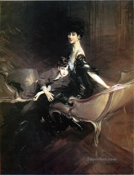 on canvas - Consuelo Duchess of Marlborough with Her Son Ivor Spencer Churchill genre Giovanni Boldini