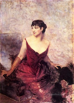 nr Painting - Countess de Rasty Seated in an Armchair genre Giovanni Boldini