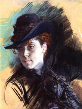 old Painting - Girl In A Black Hat genre Giovanni Boldini