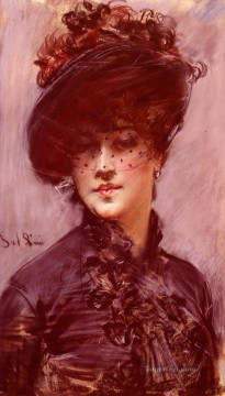 La Femme Au Chapeau Noir genre Giovanni Boldini Oil Paintings