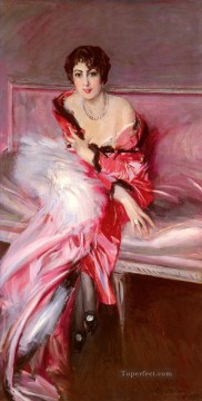 red Oil Painting - Portrait Of Madame Juillard In Red genre Giovanni Boldini