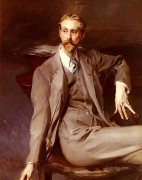 old Painting - Portrait Of The Artist Lawrence Alexander Harrison genre Giovanni Boldini