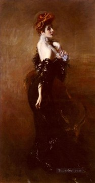 Portrait Of madame Pages In Evening Dress genre Giovanni Boldini Oil Paintings