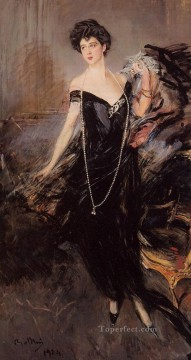 on canvas - Portrait of Donna Franca Florio genre Giovanni Boldini