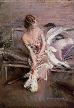on canvas - Portrait of Gladys Deacon genre Giovanni Boldini