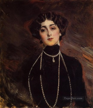 old Painting - Portrait of Lina Cavalieri genre Giovanni Boldini