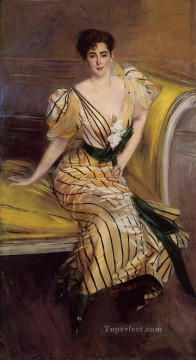 Portrait of Madame Josephina Alvear de Errazuriz genre Giovanni Boldini Oil Paintings