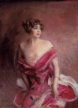 Portrait of Mlle de GillespieLa Dame de Biarritz genre Giovanni Boldini Oil Paintings