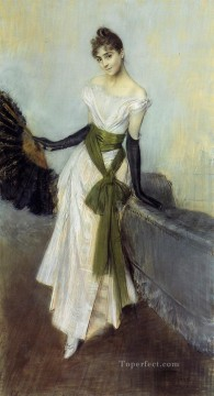 on canvas - Portrait of Signorina Concha de Ossa genre Giovanni Boldini