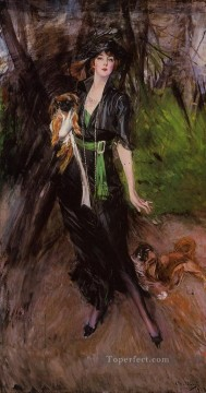 old Painting - Portrait of a Lady Lina Bilitis with Two Pekinese genre Giovanni Boldini