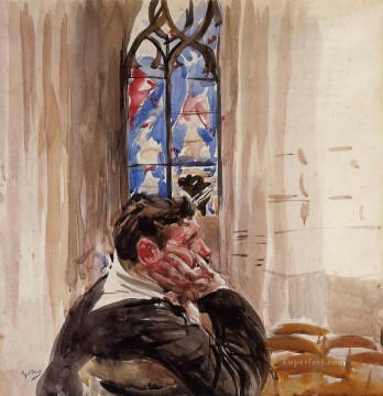 old Painting - Portrait of a Man in Church genre Giovanni Boldini