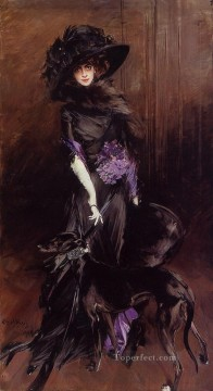 portrait Art - Portrait of the Marchesa Luisa Casati with a Greyhound genre Giovanni Boldini