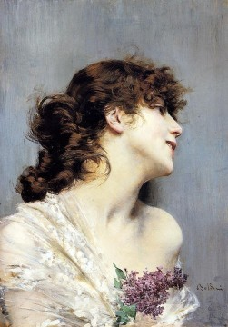 old Painting - Profile Of A Young Woman genre Giovanni Boldini