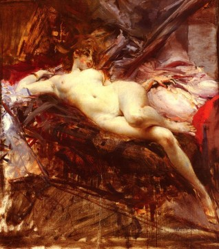 Reclining Nude genre Giovanni Boldini Decor Art