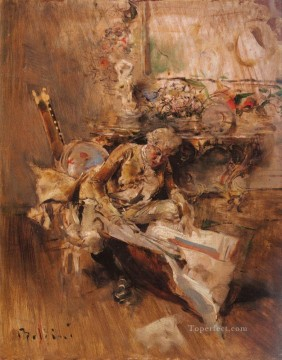 Giovanni Boldini Painting - The Art Connoisseur genre Giovanni Boldini