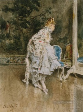 old Painting - The Beauty Before The Mirror genre Giovanni Boldini
