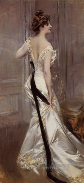 old Painting - The Black Sash genre Giovanni Boldini