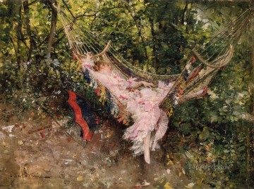 old Painting - The Hammock genre Giovanni Boldini