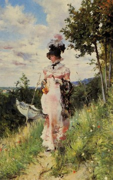 old Painting - The Summer Stroll genre Giovanni Boldini