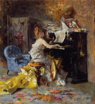 Woman Painting - Woman at a Piano genre Giovanni Boldini