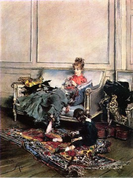 on canvas - Peaceful Days aka The Music Lesson genre Giovanni Boldini