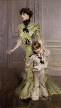 old Works - Portrait of Madame Georges Hugo nee Pauleen Menard Dozian and Her Son Jean genre Giovanni Boldini