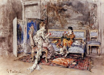 old Painting - The Conversation genre Giovanni Boldini