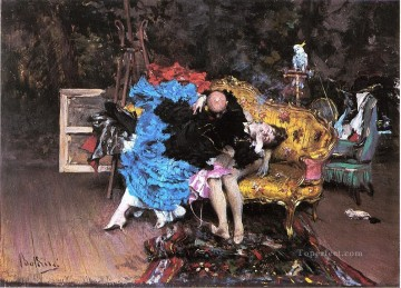 old Painting - The Model and the Mannequin aka Berthe in the Studio genre Giovanni Boldini