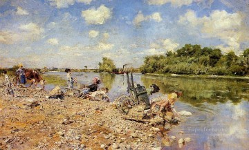 scenery Art Painting - The Laundry scenery Giovanni Boldini