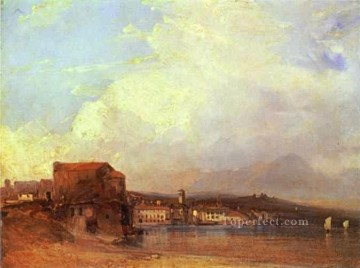 Lake Oil Painting - Lake Lugano 1826 Romantic seascape Richard Parkes Bonington