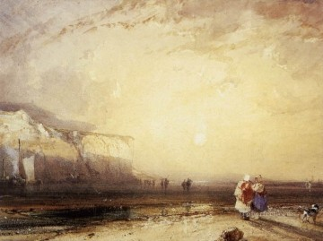 Sun Oil Painting - Sunset In The Pays De Caux Romantic seascape Richard Parkes Bonington