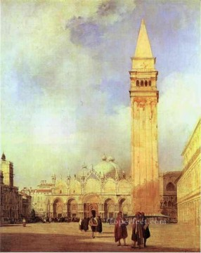 romantic romantism Painting - Piazza San Marco Venice Romantic Richard Parkes Bonington