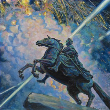 FIREWORKS THE BRONZE HORSEMAN Boris Mikhailovich Kustodiev Oil Paintings