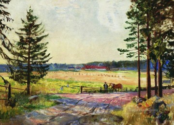 arable 1917 Boris Mikhailovich Kustodiev Oil Paintings