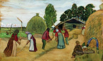 threshing 1908 Boris Mikhailovich Kustodiev Oil Paintings