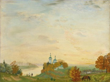ABOVE THE RIVER AUTUMN Boris Mikhailovich Kustodiev Oil Paintings