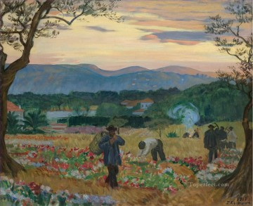 THE FLOWER HARVEST Boris Mikhailovich Kustodiev Oil Paintings