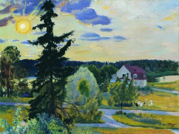 evening landscape 1917 Boris Mikhailovich Kustodiev Oil Paintings