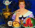 mercahnt s wife drinking tea 1923 Boris Mikhailovich Kustodiev